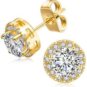 18K Gold Plated Round Cubic Zirconia 6mm Simulated